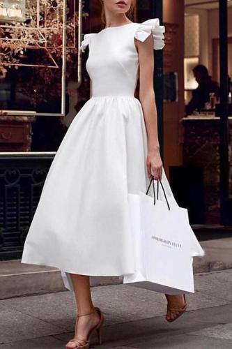 Popular White Ruffled Irregular Evening Dress