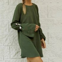 Loose Backless Crew Neck Casual Dresses