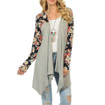 Collarless Asymmetric Hem Color Block Floral Printed Cardigans