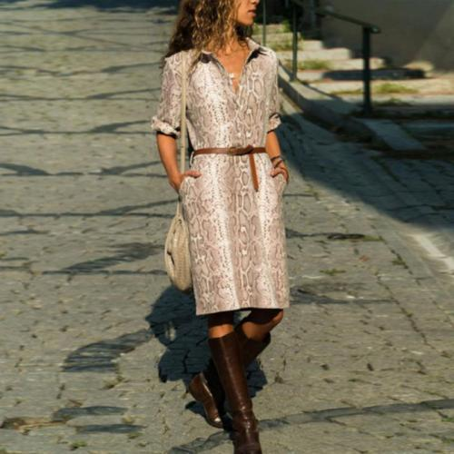 Turn Down Collar  Single Breasted  Animal Printed  Long Sleeve Casual Dresses