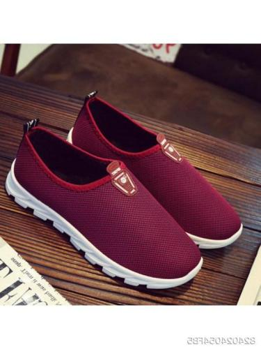 Plain Flat Round Toe Sneakers