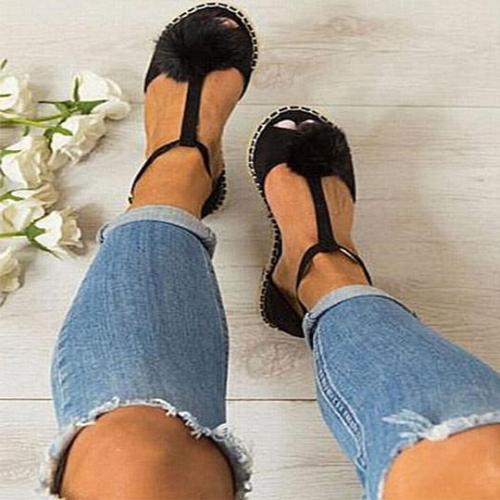 Peep Toe Adjustable Buckle Sandals