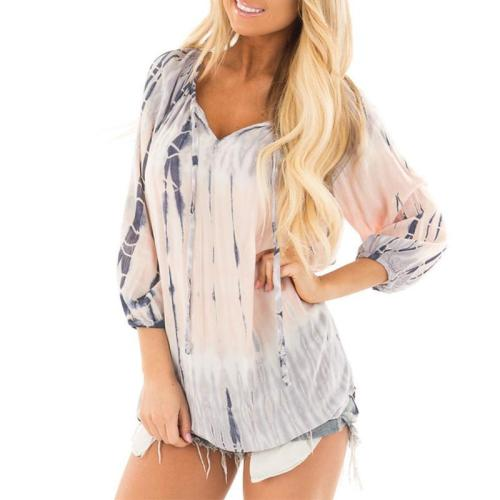 Printed 3/4 Sleeves Lace Up Casual Blouses