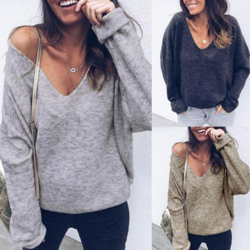 V Neck Long Sleeve Casual Knitting T-Shirts