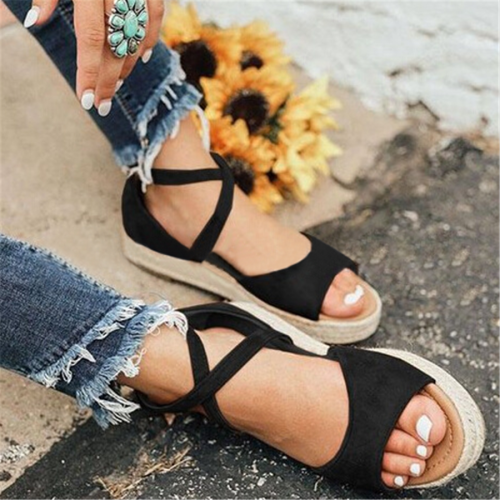 Hemp rope thick bottom fish mouth sandals