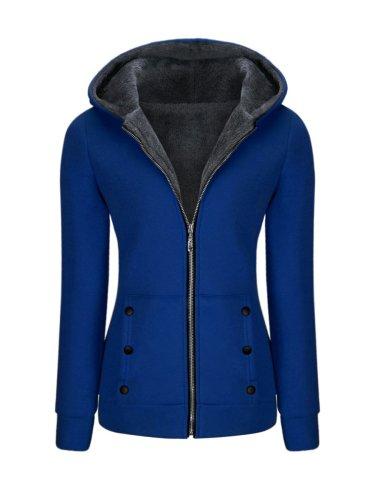 Hooded Zips Decorative Button Fleece Lined Coat