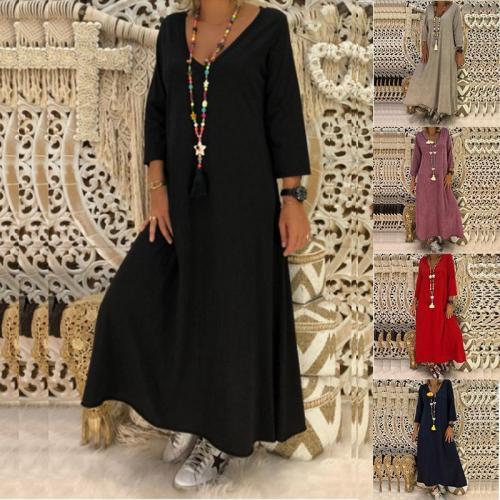 Elegant V Neck Long Sleeve Plain Casual Dress