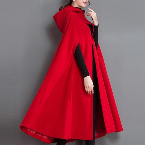 Longline Hooded Plain Woolen Cape Sleeve Coat