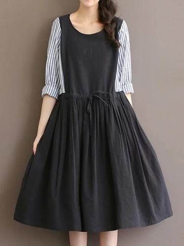 Women Black A-line Daytime Casual Cotton Paneled Dress