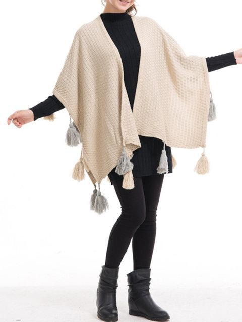Knitted Casual Solid Fringed Asymmetric Plus Size Cape