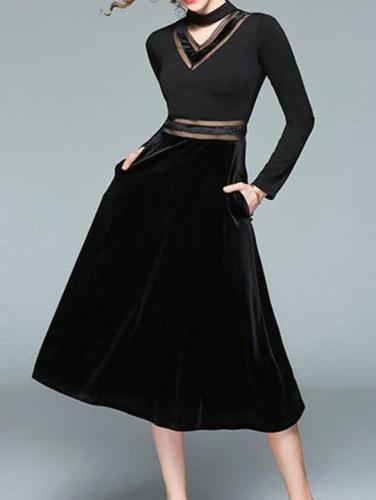 Sexy Slim Velvet Stitching V Collar Halter Skater Dress