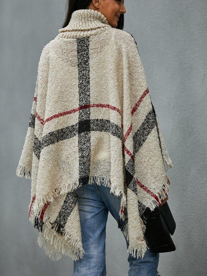 High Collar Vintage Plaid Sweater