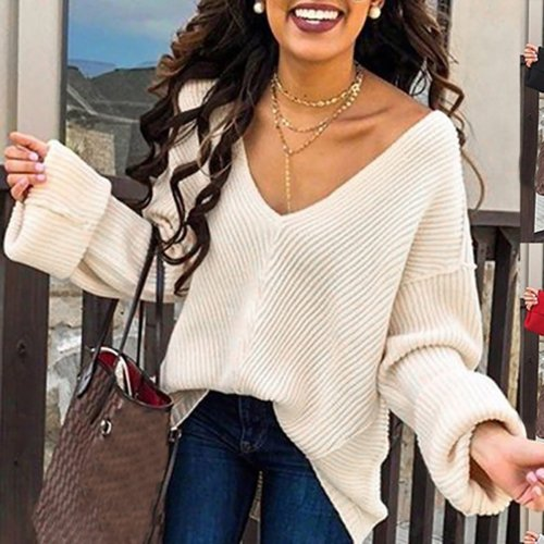 Solid Color Loose V-Neck Long Sleeve Sweaters