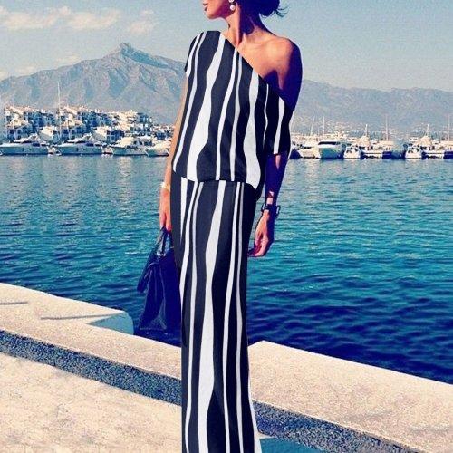 Sexy Off Shoulder Stripe Maxi Dress