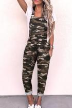 Spaghetti Strap  Zipper  Camouflage  Sleeveless Jumpsuits