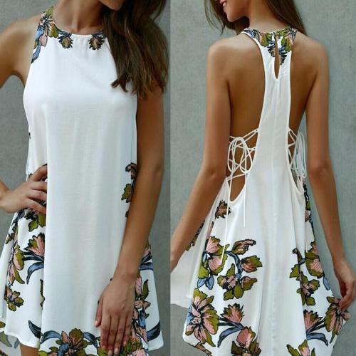 Floral Printed Halter Sexy Beach Dress