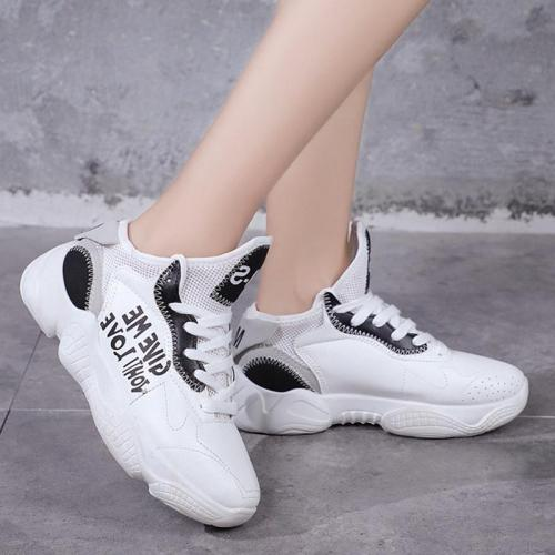 Sport Round Toe Lace Up Platform Sneakers