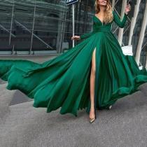 V-Neck Long Sleevethe Sides Split Evening Dress