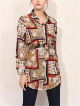 Lage size cardigan bow long sleeve printed shirt