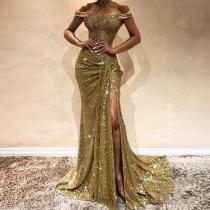 Sexy Sequin Off Shoulder Paillette Slim Evening Dress