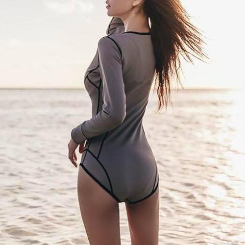 Long Sleeve Zipper One-Piece Swimsuit Surf Clothes