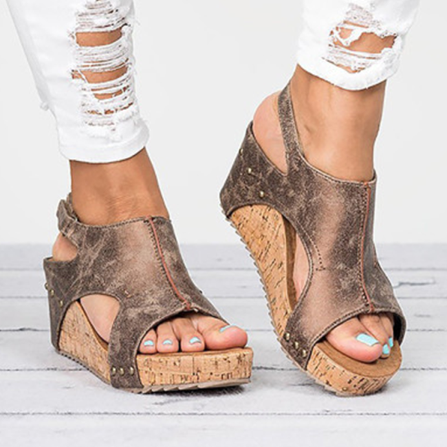 Plus Size Open Toe Wedge Sandals