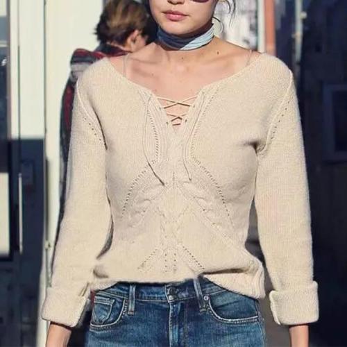 V Neck Lace Up Long Sleeve Elegant Knitting Sweaters