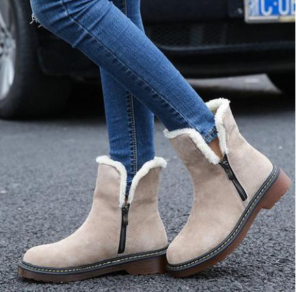 Large Size Plain Flat Warm Boots Round Toe Zipper Snow Boots