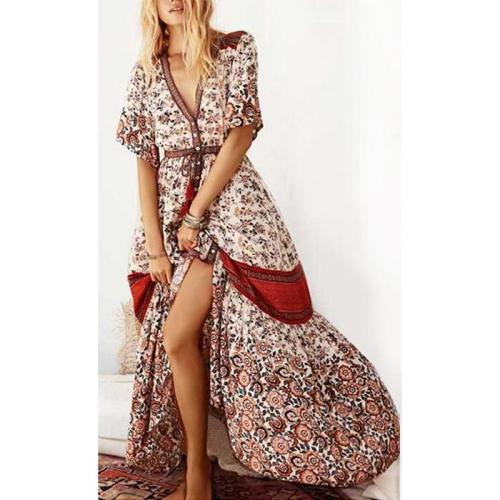 Floral Bohemian Deep V Neck Maxi Dress