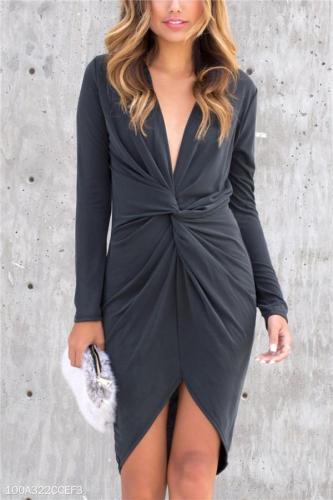 Sexy V Collar Cross Irregular Trim Hip Dress