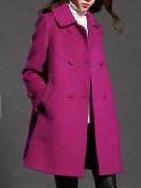 Lapel Double Breasted Pocket Plain Woolen Coat
