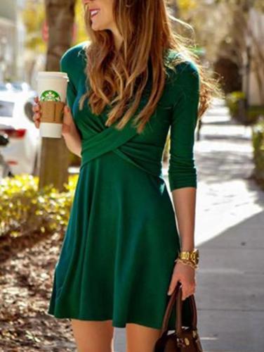 Fashion Women's Cross Long Sleeve Dress
