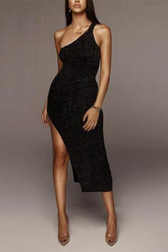 Sexy Pure Colour Slim Single Shoulder Bodycon Dresses