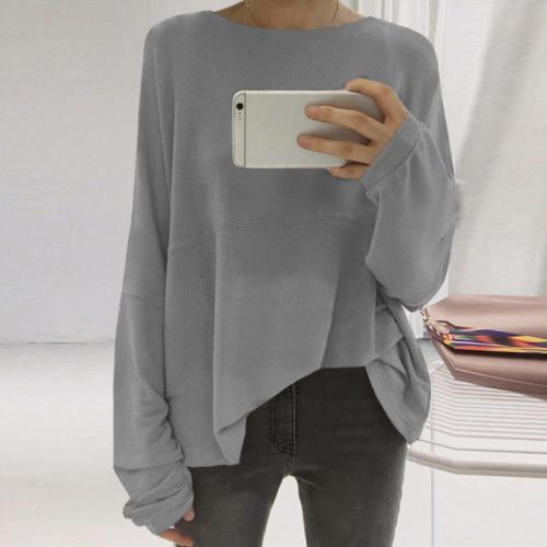 Loose Round Neck Long Sleeve Plain T-Shirts