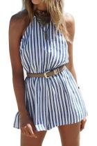 Round Neck  Backless  Striped  Sleeveless Playsuits