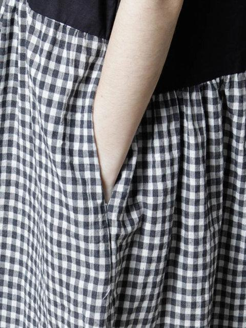 Women Black Sleeveless Cotton Gingham Dress