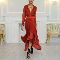 Sexy Deep V Collar Plain Flouncing Maxi Dress
