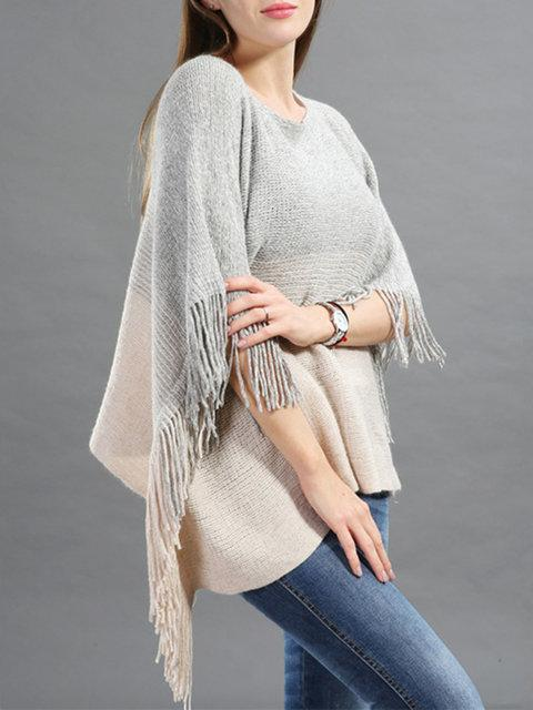 Casual Crew Neck Batwing Asymmetric Fringed Poncho