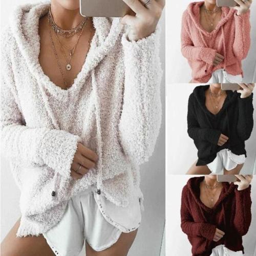 Long Sleeve V Neck Pocket Pullover Hoodies Sweatshirts