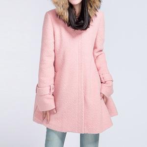 Hooded Woolen Pocket Plain Coat