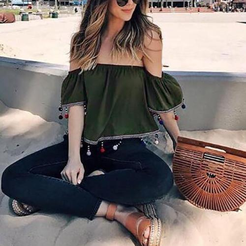 Sexy Boat Neck Pure Colour Off-Shoulder Chiffon T-Shirts