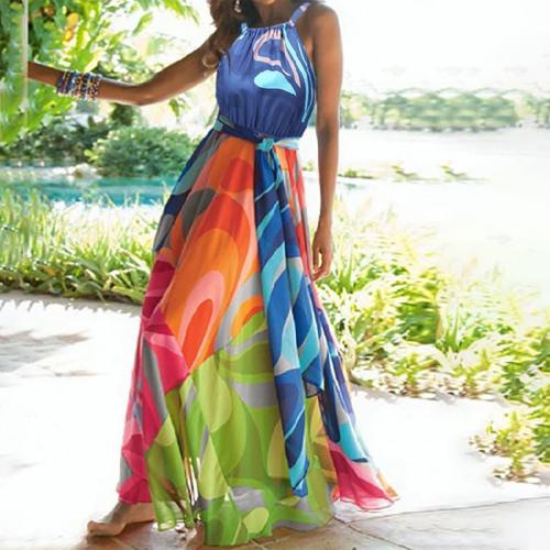 Floral-Print Straps Cross Neck Sleeveless Beach Maxi Dress