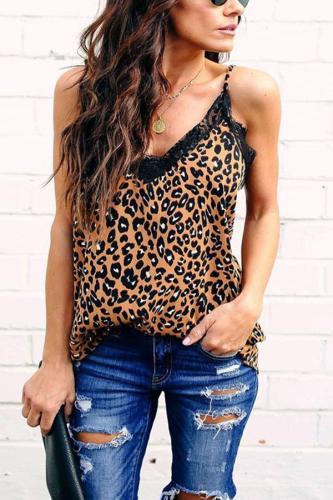 Spaghetti Strap  Lace Leopard Camis