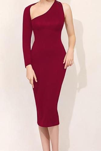 Fashion Sexy Sleeveless Show Thin Pure Color Bodycon Mini Dress
