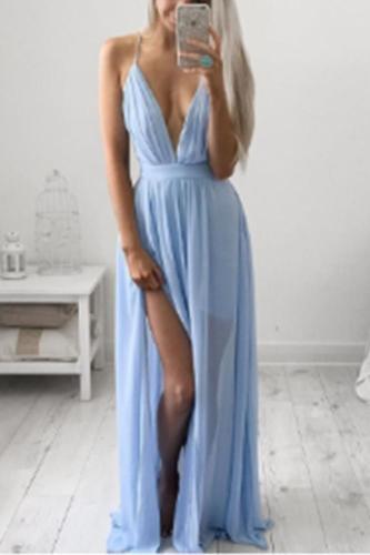 Deep V Neck  Backless Maxi Dresses