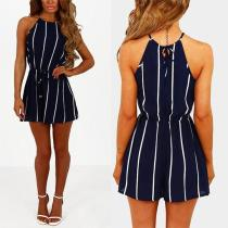 Halter Stripes Sleeveless Casual Jumpsuits