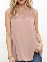Summer  Polyester  Women  Round Neck  Decorative Lace  Plain  Sleeveless Blouses
