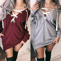 Mid-Length Ladies Long-Sleeved Sweater