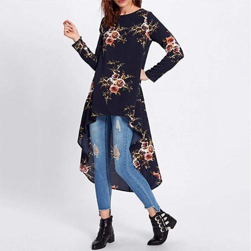 Round Neck Long Sleeve Asymmetrical Hem Floral Printed T-Shirts