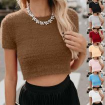Round Neck Short Sleeve Knitting Casual T-Shirts